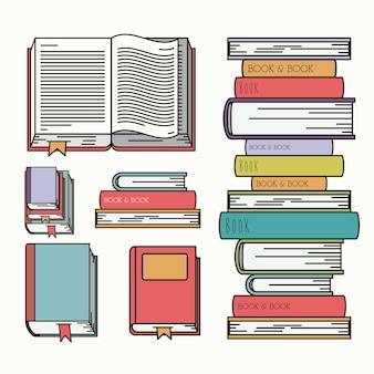Livres mis bibliothèque isolé icône conception d'illustration vectorielle
