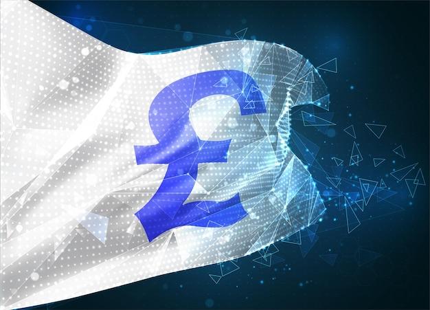 Livres monétaires, drapeau vectoriel, objet 3d abstrait virtuel à partir de polygones triangulaires sur fond bleu