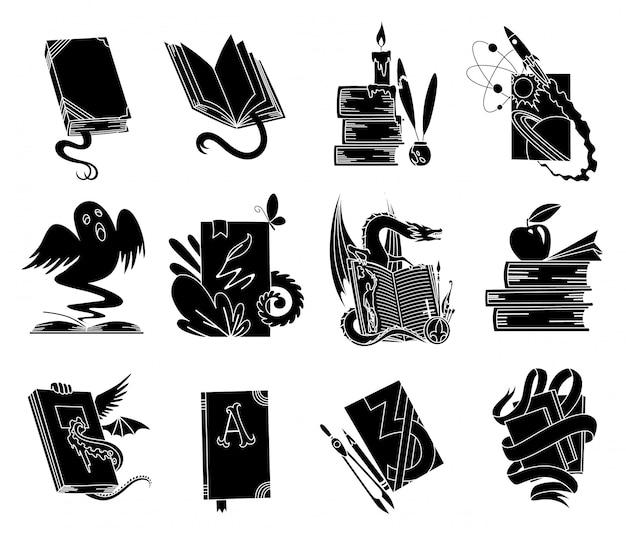 Livres ouverts silhouettes noires