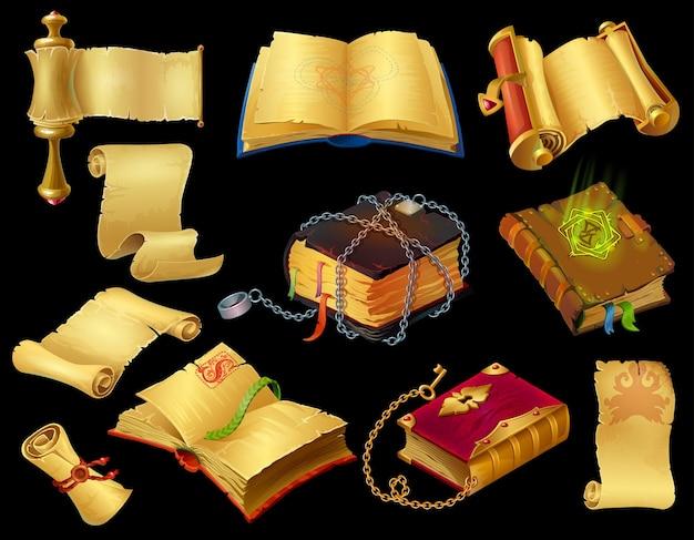 Livres et rouleaux de dessins animés. icônes de l'interface utilisateur du jeu d'anciens papyrus médiévaux et sortilèges magiques fantastiques. jeu mobile et ordinateur de vecteur défini des objets sur fond blanc