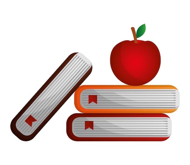 Livres scolaires et illustration vectorielle de pomme