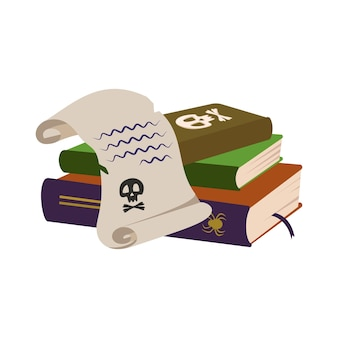 Livres de sorts gothiques avec crâne et rouleau de papier de décoration festive de sorcière pour halloween et vacances