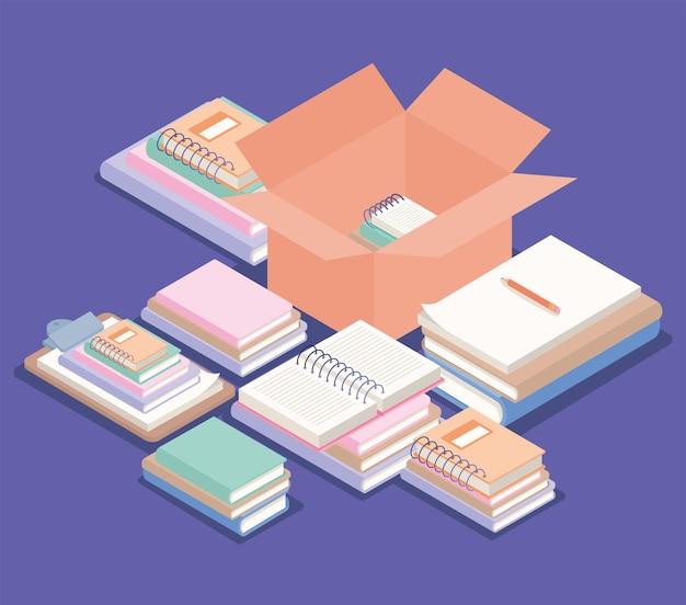 Livres, stylo et boîte sur le lieu de travail