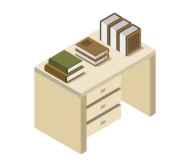 Livres sur table isométrique