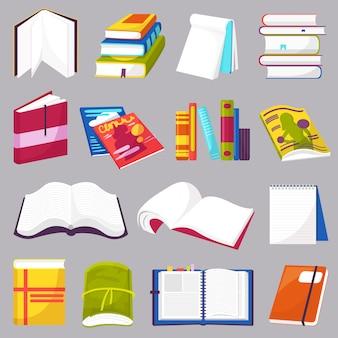 Livres vecteur ouvert journal-livre de contes et cahier sur des étagères dans la bibliothèque ou librairie ensemble de couverture bookish du manuel de littérature scolaire