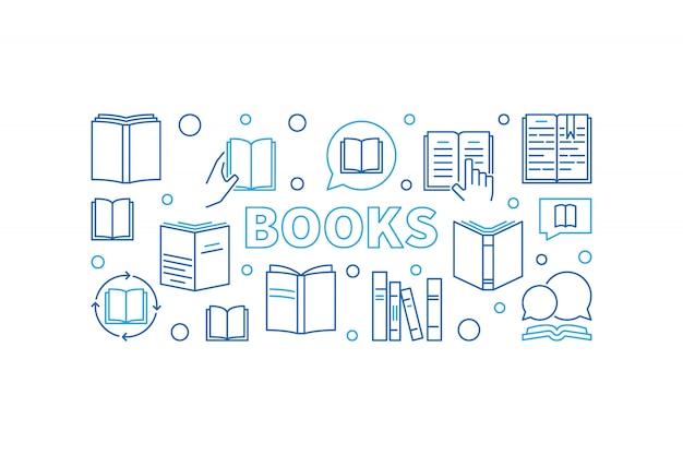 Livres vector illustration de contour horizontal. education et apprentissage bannière concept avec des icônes linéaires du livre
