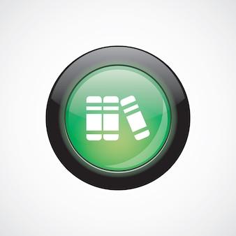Livres verre signe icône vert brillant bouton. bouton du site web de l'interface utilisateur
