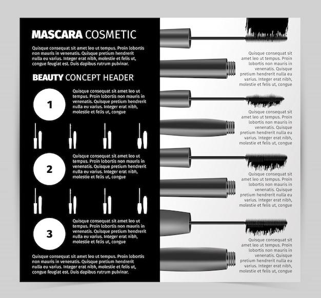 Livret avec des objets de mascara vectoriels réalistes
