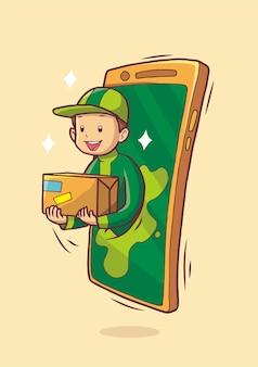 Livreur apparaissant à partir d'un téléphone mobile livrant une commande de colis