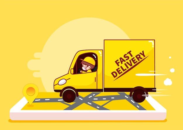 Livreur conduisant sur le chemin