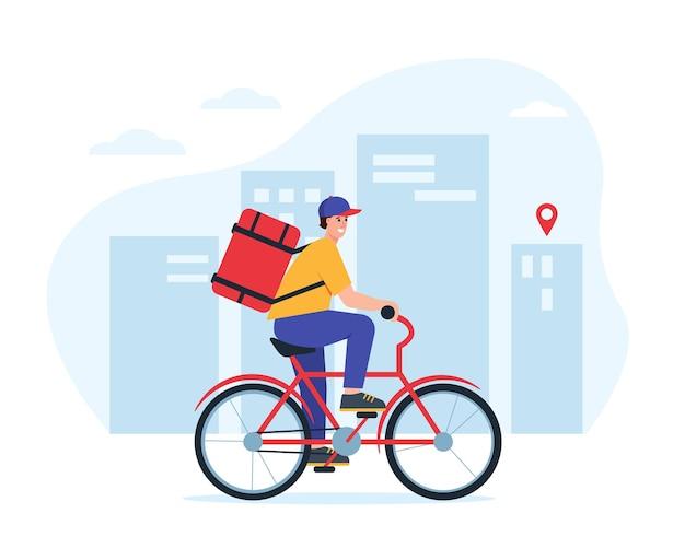 Livreur ou coursier à vélo dans le concept de livraison express de nourriture de la ville