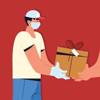 Livreur, donner, boîte