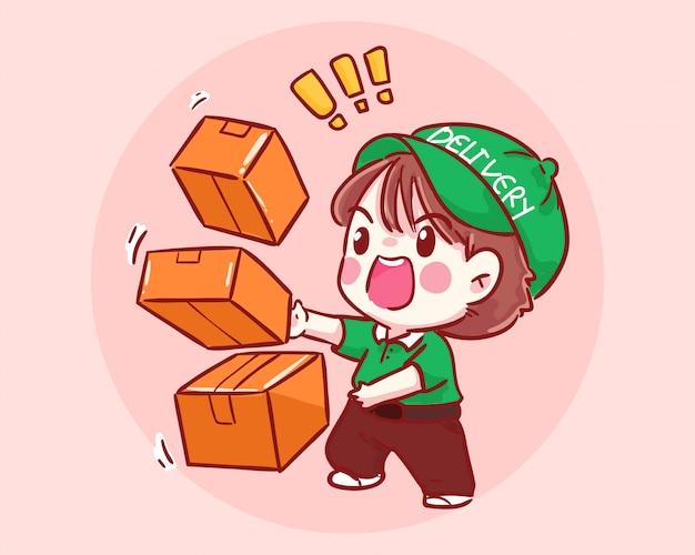 Livreur avec illustration d'art de dessin animé de boîte