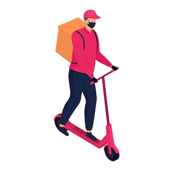 Livreur isométrique dans un masque de protection livrant des colis par un scooter électrique.