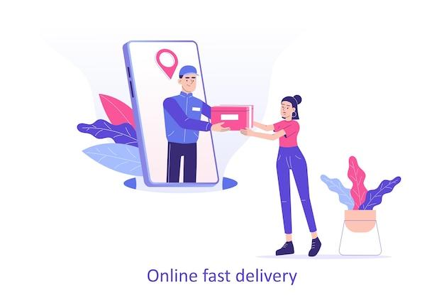 Livreur en ligne ou courrier donnant une boîte à une femme à partir d'un smartphone