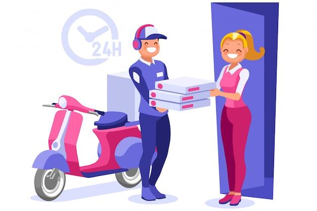 Livreur livrer de la pizza à la maison