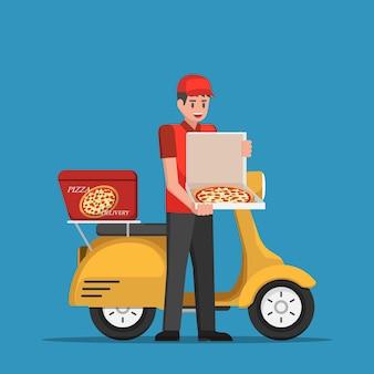 Livreur manipulant une boîte à pizza au client en scooter.