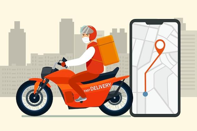 Livreur en masque médical sur une moto rend la livraison rapide