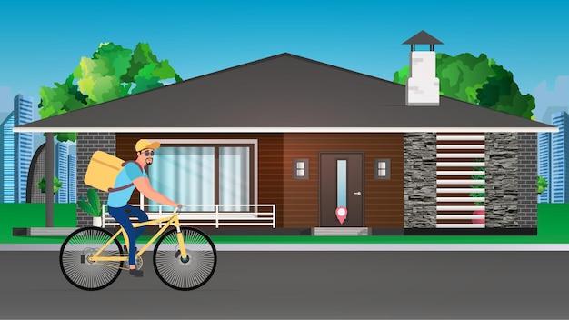 Livreur De Nourriture Sur Un Vélo Vecteur Premium