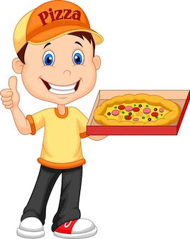Livreur de pizza dessin animé donnant le pouce en l'air