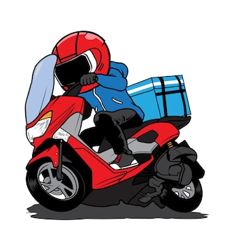 Livreur ride moto cartoon