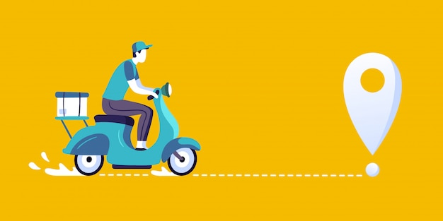 Livreur sur scooter. courrier de livraison de nourriture, livraison en vélo de ville et illustration de l'itinéraire de livraison