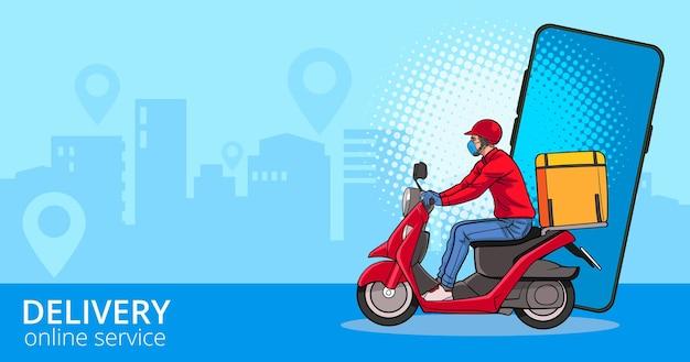 Livreur en scooter avec coursier rapide avec des motos commandant un mobile pop art comic style