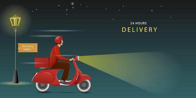 Livreur sur un scooter rouge dans la nuit. livraison à tout moment. livraison 24h / 24.