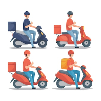 Livreur avec scooter set illustration