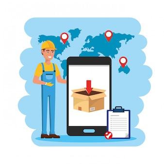 Livreur avec service smartphone et check-list