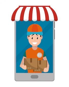 Livreur transportant des boîtes
