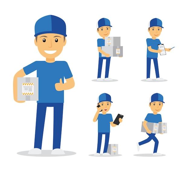 Livreur en uniforme bleu