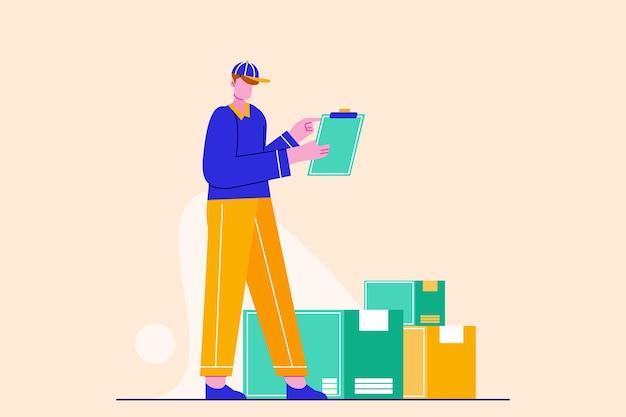 Livreur, vérification, paquet, adresse