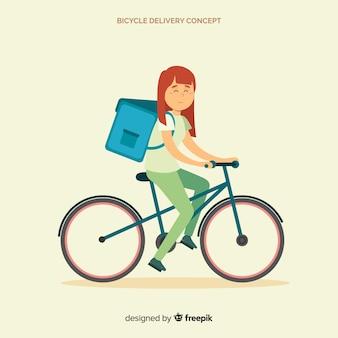 Livreuse à plat sur fond de vélo