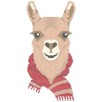 Llama animal avec noël écharpe pull tricoté vecteur pixel