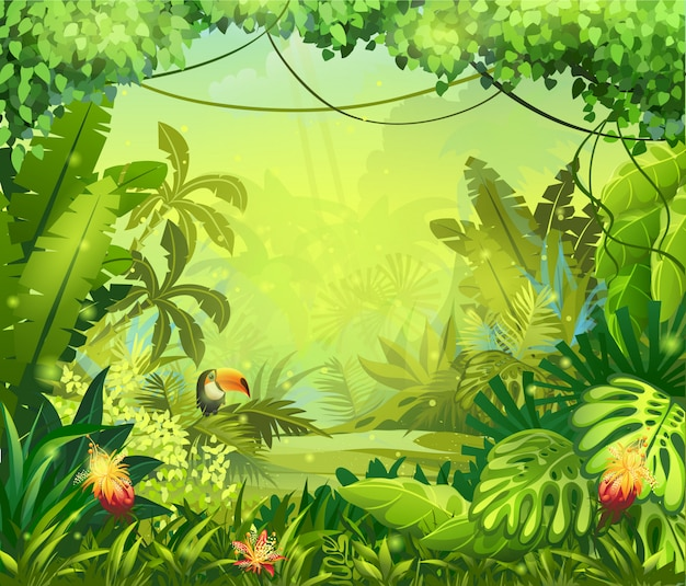 Llustration avec des fleurs et un toucan de la jungle
