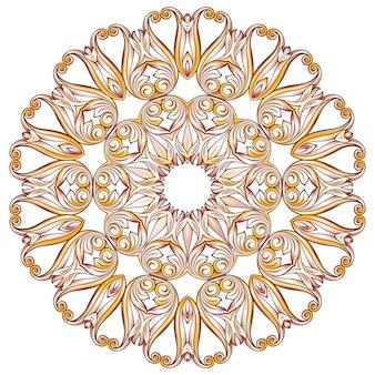 Llustration de motif floral orné dans les tons rose pastel rose et jaune sur fond blanc