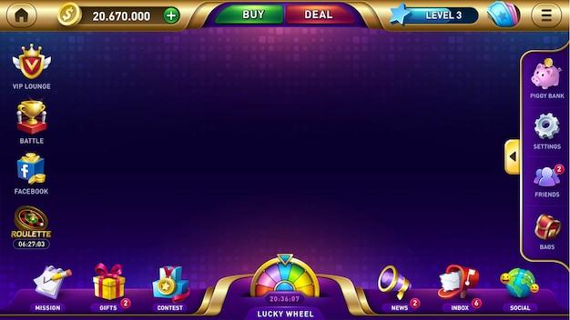 Lobby pour l'interface utilisateur de jeu de casino de jeux de machines à sous