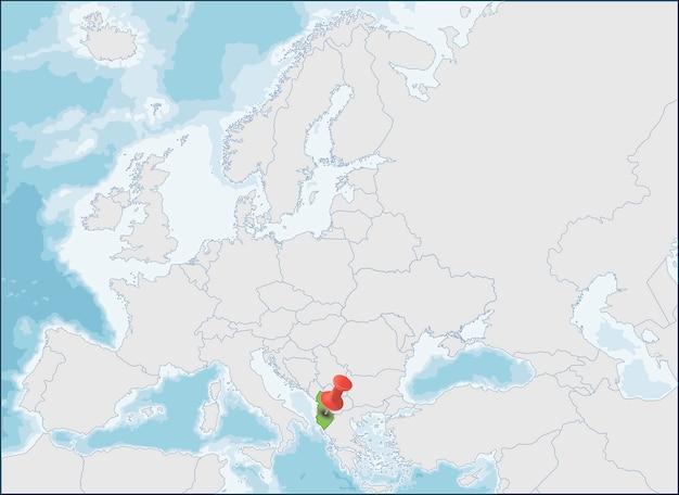 Localisation de la république d'albanie sur la carte de l'europe