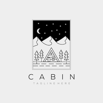 Location de cabine de nuit ligne minimaliste art insigne logo modèle vector illustration design. chalet simple, maison, maison, immobilier, concept de logo de voyage