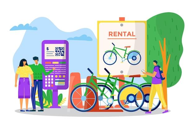 Location de transport de vélos, illustration vectorielle. véhicule de location pour les déplacements dans les rues de la ville, le personnage homme femme prend un vélo pour une balade urbaine. bannière publicitaire pour les loisirs actifs en plein air, les transports.