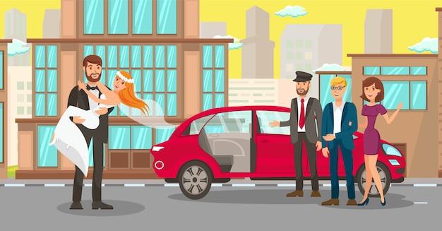 Location de voiture de mariage pour jeunes mariés illustration