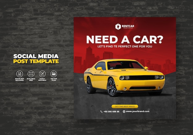 Location de voiture pour médias sociaux post banner modèle de promotion moderne