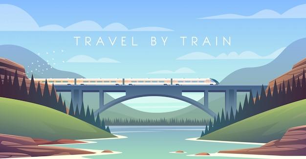 Locomotive à vapeur, vacances, paysage de montagne, chemin de fer, aventure. le coucher du soleil. le pont sur la rivière.