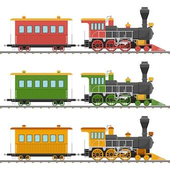 Locomotive à vapeur vintage et illustration de wagon isolé