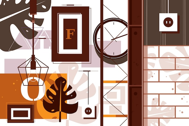 Loft en illustration vectorielle de design d'intérieur. chambre décorée dans un concept de style plat de style urbain moderne. espace ouvert et éléments industriels dans le décor