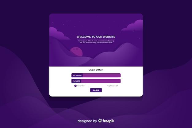 Log violet foncé en page d'atterrissage avec nuages