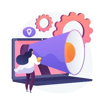 Logiciel d'automatisation du marketing et crm. solutions basées sur le web, gestion de la relation client, commerce numérique. gestion de l'expérience client. illustration de métaphore de concept isolé de vecteur