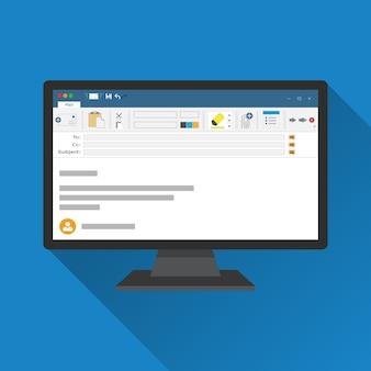 Logiciel client de messagerie sur l'icône plate de l'écran de l'ordinateur.
