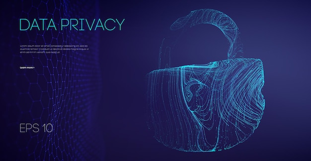 Logiciel gouvernemental de confidentialité des données. données de protection contre les pirates du serveur de messagerie. attaque de données cloud de sécurité. illustration vectorielle.